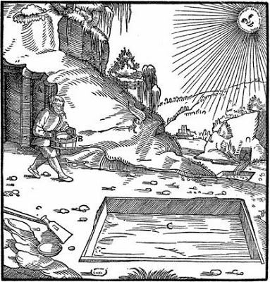 The recovery of copper from vitriolated waters, from De Re Metallica, 1556, by Agricola (Georg Bauer).
