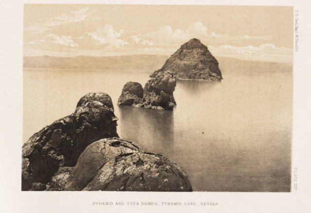 Pyramid Lake, Nevada-photograph from geological survey led by Clarence King