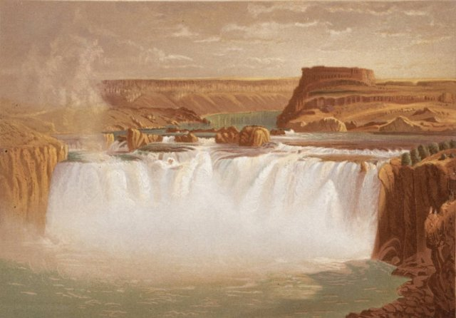Chromolithograph of Shoshone Falls from geological survey led by Clarence King