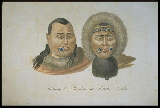 Portrait of the Inhabitants of Kotzebue Sound from Entdeckungs-Reise in de Süd See und nach der Berings-Strasse zur Erforschung einer nordöstlichen Durchfahrt: Weimar: Hoffmann, 1821.