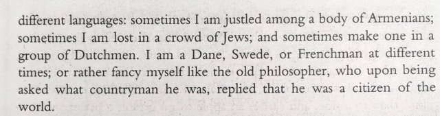 "Joseph Addison describes himself as a ""citizen of the world"" in London in 1711 h/t @sally_holloway"