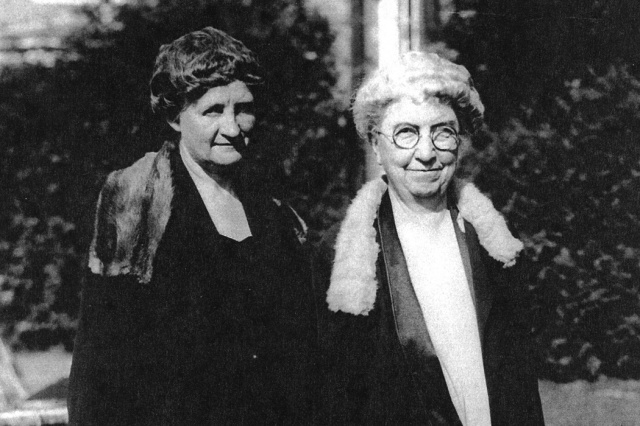 Martha Van Rensselaer and Flora Rose at a meeting of the League of Women Voters at the home of Eleanor Roosevelt in Hyde Park in the 1920s via Wikimedia Commons