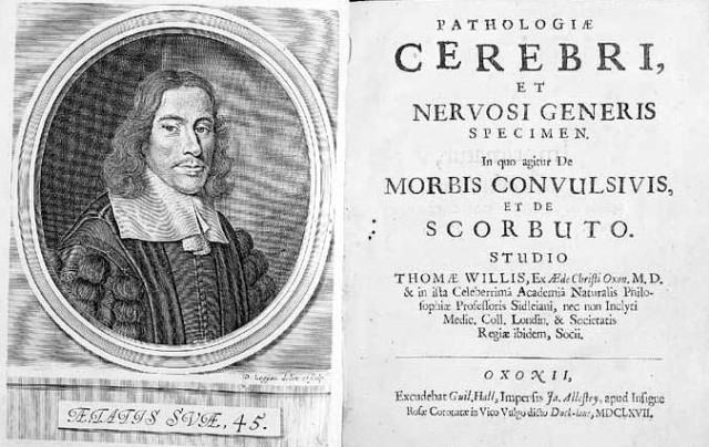 Thomas Willis Pathologiae cerebri et nervosi generis specimen Source: Wikimedia Commons