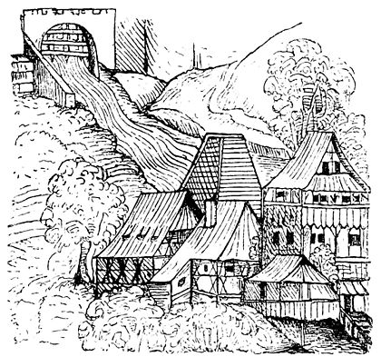 Ulman Stromer's Paper-mill. (From Schedel's Buch der Chroniken of 1493.)