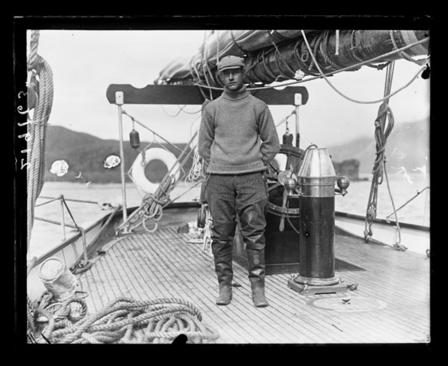 Roy Chapman Andrews aboard the Adventuress, 1913 © AMNH Library