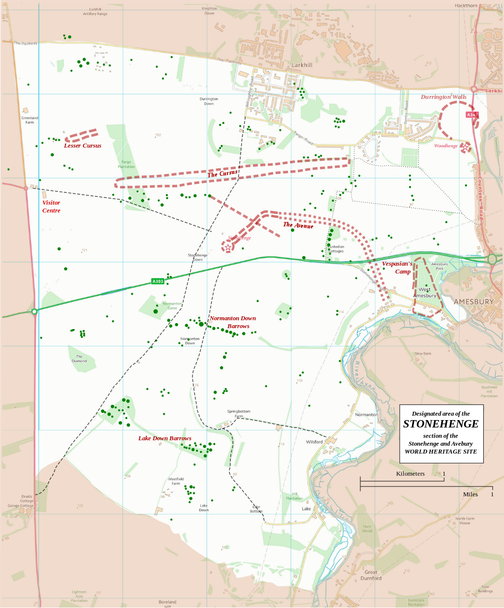 boundary and key sites on the avebury section of the stonehenge avebury and associated sites