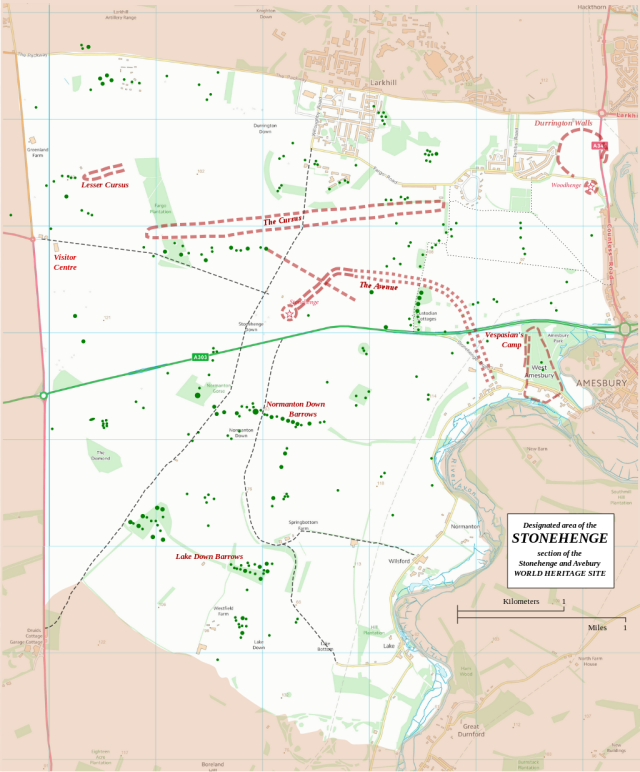 Boundary and key sites on the Avebury section of the Stonehenge, Avebury and Associated Sites World Heritage Site Source: Wikimedia Commons