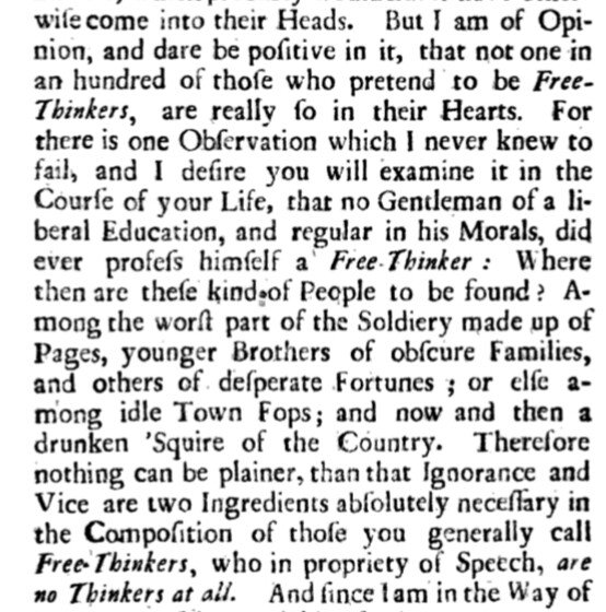 "Jonathan Swift, on self-proclaimed ""free thinkers"" who abhor experts (1721) h/t @JolyonMaugham"