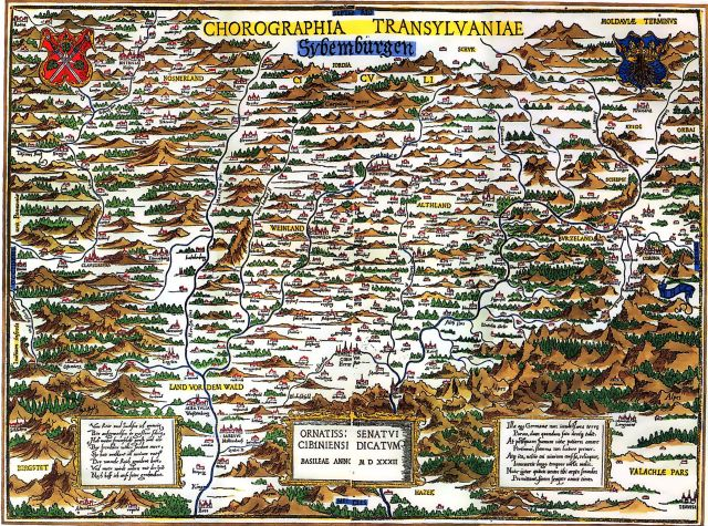 Map of Transylvania. Made in 1532 by Johannes Honterus. Source: Wikimedia Commons