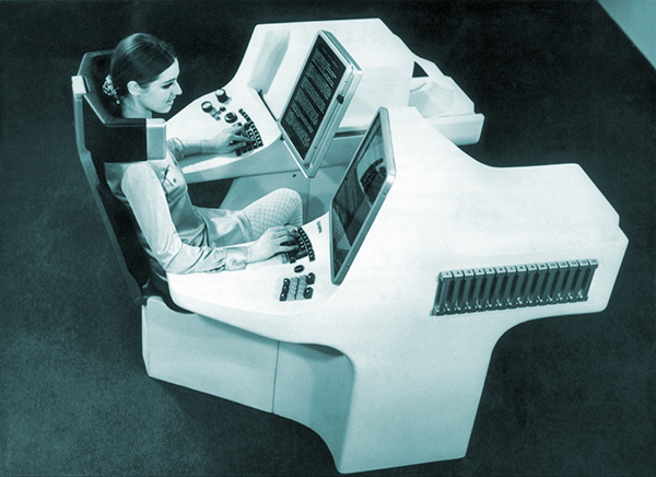 Futuristic office station composed of a typewriter, TV screens, video recorder, photocopier; Hanover 1969
