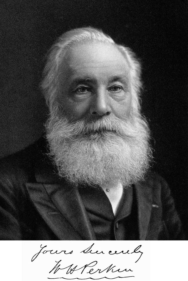 William Henry Perkin (* 12. März 1838 in East End, London; † 14. Juli 1907 in Sudbury) Source: Wikimedia Commons