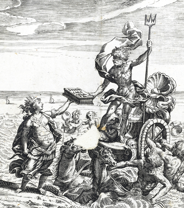 Poseidon taking chocolate from Mexico to Europe, a detail from the frontispiece to Chocolata Inda by Antonio Colmenero de Ledesma, 1644