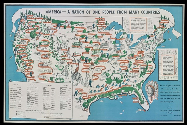 """America—A Nation of One People From Many Countries,"" by Emma Bourne published in 1940 by the Council Against Intolerance in America. FROM THE COLLECTION OF STEPHEN J. HORNSBY/COURTESY THE OSHER MAP LIBRARY AND SMITH CENTER FOR CARTOGRAPHIC EDUCATION"