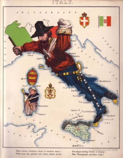 Map of Italy by Lilian Lancaster published in Geographical Fun, Humorous Outlines of Various Countries, London: Hodder & Staughton, 1868. British Library Maps 12.d.1.