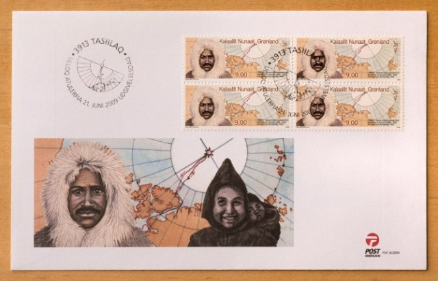 This first-day cover includes an image of Akatingwah carrying Anaukaq, the son she had with Matthew Henson.  Image courtesy POST Greenland