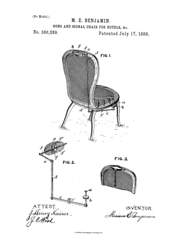 Mariam E. Benjamin's gong and signal chair. ( Credit: U.S. Patent Office / Google Patents)
