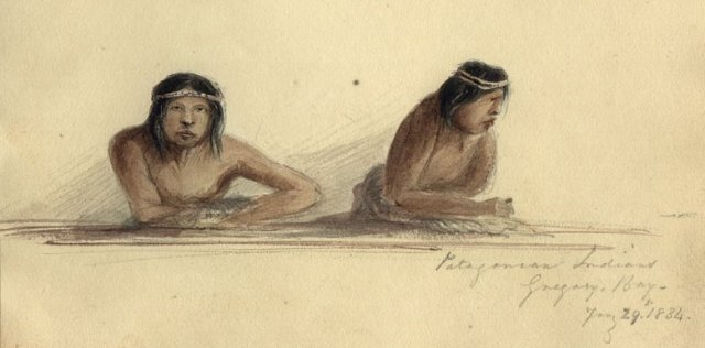 Patagonian Indians, Gregory Bay by Conrad Martens. Cambridge University Library