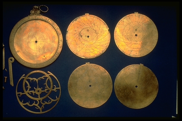 Hartman's planispheric astrolabe, which features an inscription indicating that it belonged to Italian astronomer Galileo Galilei. (The National Museum of American History)