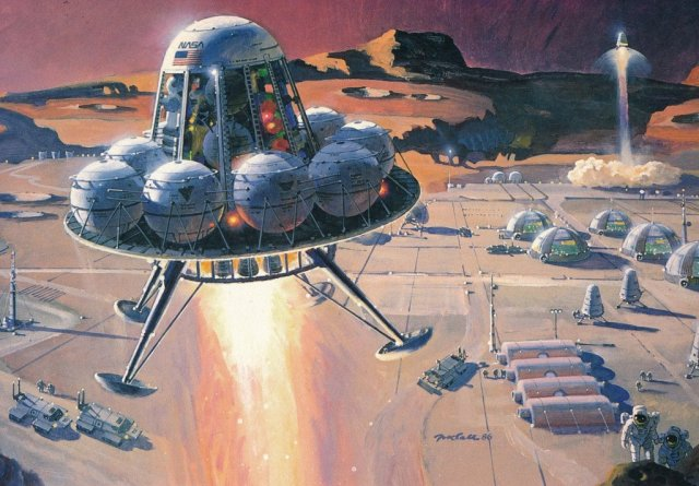 Painting by Robert McCall for Pioneering the Space Frontier (1986) From the book Visions of Space by David Hardy (1989)