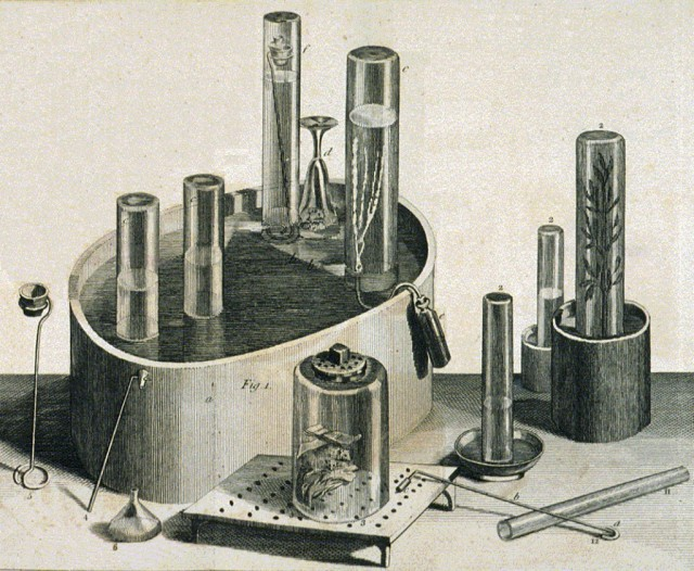 Equipment used by Joseph Priestley in his experiments on gases