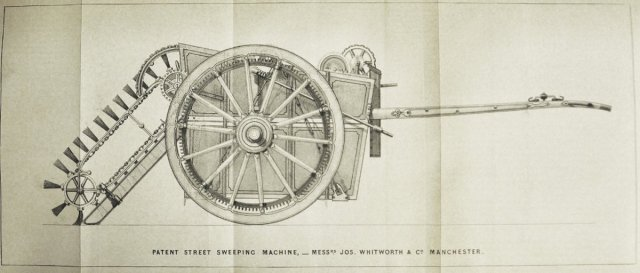 An 1843 patent drawing of a horse-drawn machine for sweeping streets, from a pamphlet in Royal Institution collections
