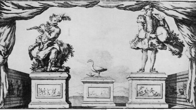 Vaucanson's automata: The Flute Player, The Tambourine Player and Digesting Duck (Wikimedia Commons)